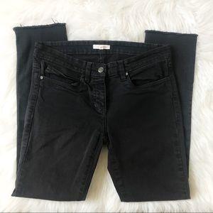 Eileen Fisher Raw Hem Black Skinny Jeans